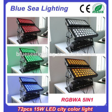 72pcs x 15w rgbwa 5in1 ip65 outdoor led wall washer light