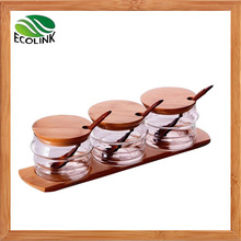 Glass Seasoning Canister with Bamboo Lid and Stand