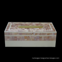 Home accessory set pink shell tissue box cover in rectangle