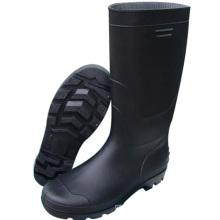 Мода черный колено высокие сапоги из ПВХ (66713)
