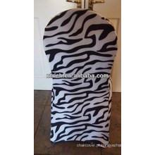Venda por atacado tampa impressão zebra específica da cadeira do lycra para hotel do banquete de casamento