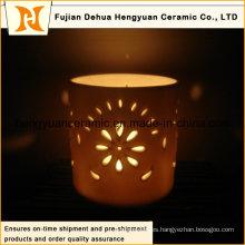Venta caliente ahueca hacia fuera el sostenedor de vela de cerámica de la Navidad (la cortina de lámpara del LED)