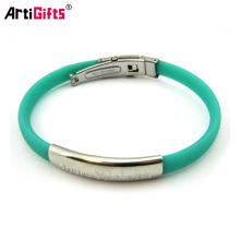 En gros Personnalisé Pas Cher Nouvelle mode plaine silicone manchette en métal bracelet bracelet