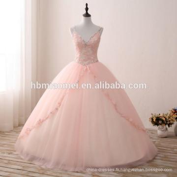 Puffy robe de bal robe de princesse rose couleur v profond cou robe de mariée de mariée tulle robe de mariée de fleurs colorées