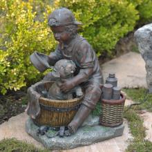 moderne jardin sculpture métal artisanat vie taille garçon et chien sculpture