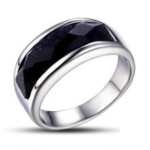 Кольцо из нержавеющей стали с черным стеклом