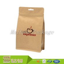 Custom Sizes Coffee/Tea/Food Aluminum Foil Lined Brown Box Flat Bottom Ziplock Kraft Paper Bag