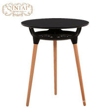 Wholesale China Alibaba furniture round MDF plastic with storage basket wood dining cafe snack outdoor garden table
