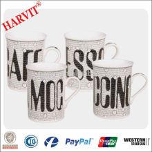 Tazas de cerámica al por mayor taza de cerveza / gres tazas de café modernas / precio de diseño de letras taza recta
