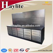 Banco de trabajo de cajón con gabinetes de herramientas de garaje de panel