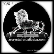 Lion sculpté à la main en cristal K9 avec base