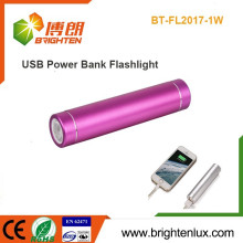 Factory Wholesale Mini Multi-functional Portable Aluminum Metal 1*18650 battery Powered USB Charging led Power Bank Flashlight