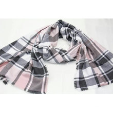 hotsale pink&grey checked long scarf fringe on four side super soft hand feeling