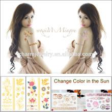 Imperméable à la mode, métal, changement, couleur, tatouage, autocollant, soleil, BS-8030