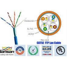 Câble 26wg ftp cat5e de qualité supérieure Coupe 4 paires avec film approuvé par UL