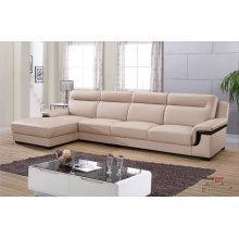 L форма реальный кожаный диван, мебель для гостиной, современный диван (652)