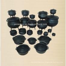 Potes de Potjie do ferro de molde do tamanho cheio / Caldeirão