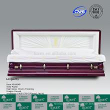 Стороны резного дерева шкатулку гроб для похорон с Китайский дракон резные