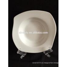 restaurante plato de porcelana cuadrado blanco profundo