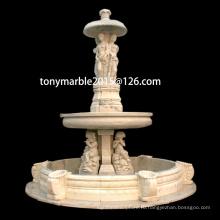 Статуя бежевый мраморный фонтан для украшения сада (SY-F010)