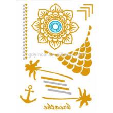 Etiqueta engomada mezclada metalizada temporal del tatuaje del oro y de la plata de 2017 colores populares populares