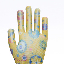 Wholesale Top Floral Design Coated Work Gloves