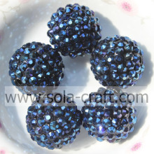 Shinning Wholesale Resin Rhinestone Beads 18*20MM Dark Blue For Bracelets