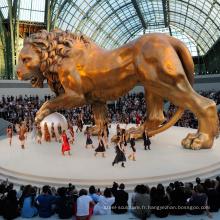 Décoration de jardin extérieur grand lion d'or statue