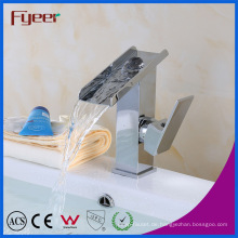 Fyeer Bathroom Uncovered Wasserfall Einhand-Chrom-Waschtischarmatur Mischbatterie