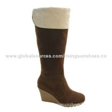 Women's dress boots/wedge heel + high shaft/fake suede upper + lamb fur edge/various colors/design