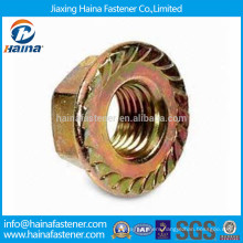 Color zinc plated carbon steel serrated hex flange nut