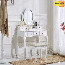 Tocador blanco y mesa de maquillaje de sillas con taburete, 5 cajones y un dormitorio con espejo ovalado