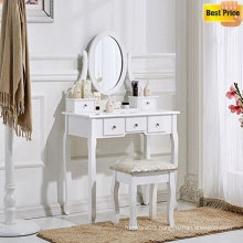 White Dressing Table and Chair Makeup Desk with Stool 5 Drawers and Oval Mirror Bedroom
