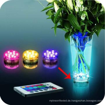 Fernsteuerungs-Tauchens-Dekoration-wasserdichte mehrfarbige Unterwasser 10 LED-Partei-Unterwasserlampe