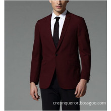 Slim Fit Men's Red Wool Business Suit