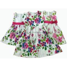 Vestido del algodón de la muchacha / vestido de la muchacha de flor / ropa de los niños / desgaste de los niños