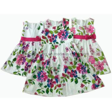 Girl Cotton Dress/Flower Girl Dress/Children Clothing/Children′s Wear