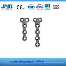 Traumatisme métallique Implant orthopédique osseux Phalange Matacarpus Plaque en forme de T