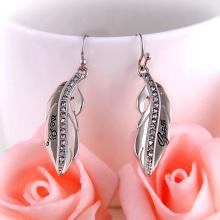 Rhinestone Alloy Feather Earrings With Words Silver Earrings