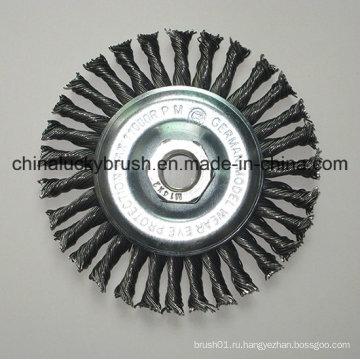 4inch стальной проволоки Knotted колесные щетки с M14X2 (YY-641)