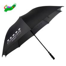 black colour rubber straight handle carbon fiber golf umbrella