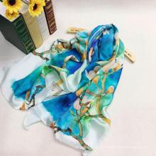 Lenços de seda com impressão de design OEM