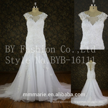 Appliques Lace Tulle Customize vestido longo White cap Sleeves mermaid Wedding Dress