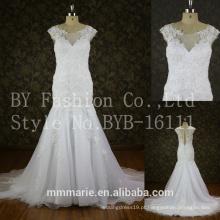 Appliques Lace Tulle Personalizar vestido longo White cap Sleeves sereia Wedding Dress