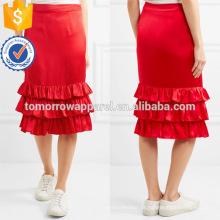 Poliéster vermelho babados em camadas de verão midi saia fabricação atacado moda feminina vestuário (ta0007s)