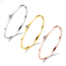 Regalos del aniversario del acero inoxidable para las muchachas Pulsera del brazalete abierto de las mujeres cristalinas