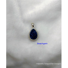 Jewellery-Natural Druzy Sterling Silver Pendant (P1287)