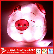 2015 Горячие продажи светодиодные ночь светло-розовый прекрасный головной убор свиньи подушку