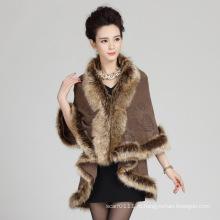 Женщина мода акриловые трикотажные искусственного меха зима теплая шаль (YKY4468)