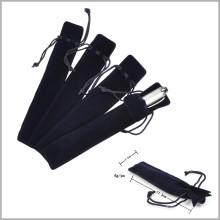Saco de veludo macio caneta preta com linha, sacolinha de veludo caneta